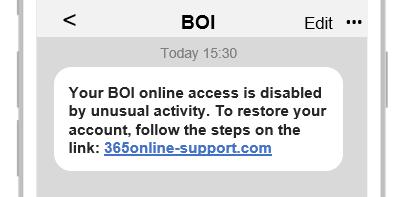 BOI scam text message