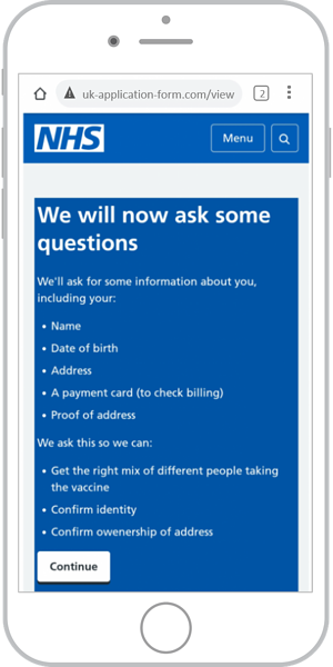 NHS fake website - scam texts with links