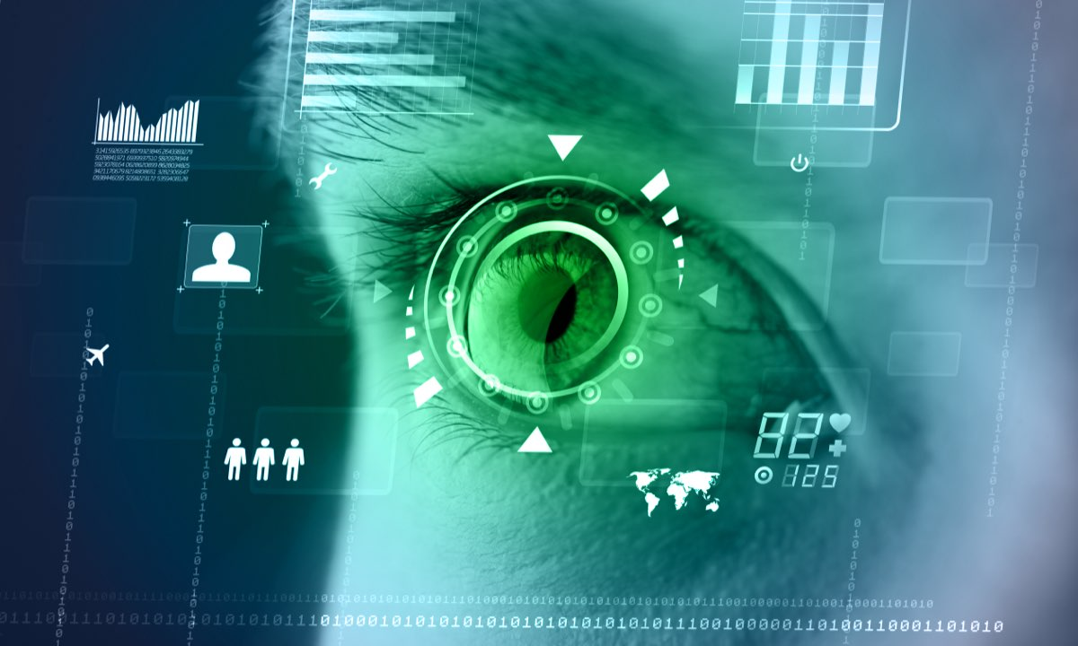 eye of a woman with the cybersecurity target and coding