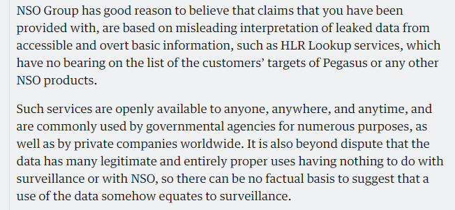 Response statement from NSO on the HLR Lookup services